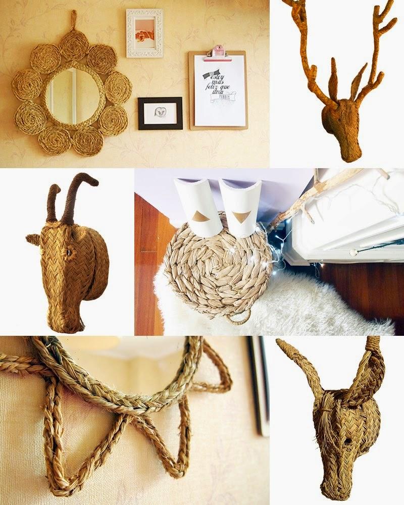cabezas de animales en esparto para decorar la pared