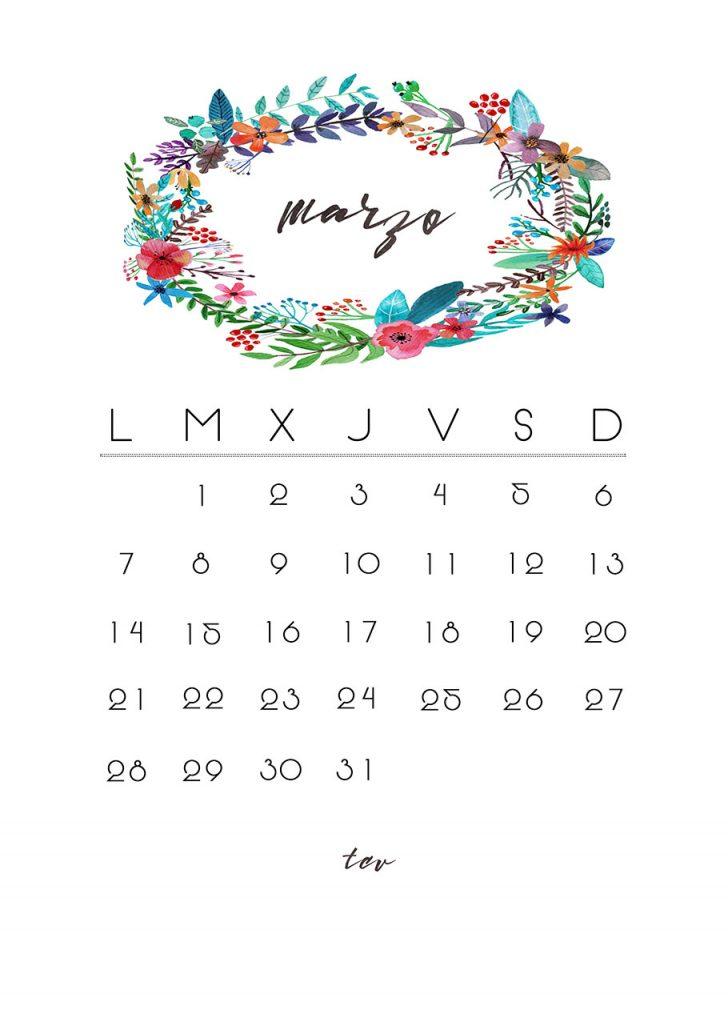 Calendario imprimible de marzo
