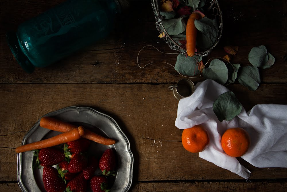 Smoothie de fresas y zanahoria con mandarina