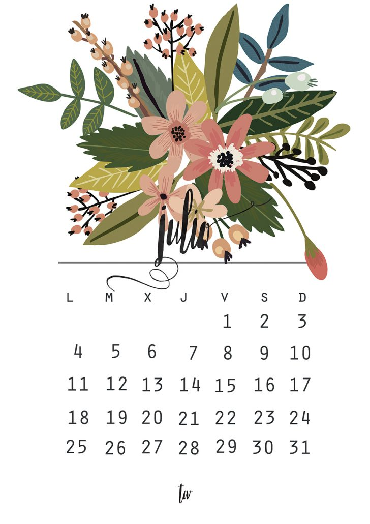 Calendario julio + shopping list